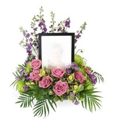 گل آرایی با قاب عکس رضوان